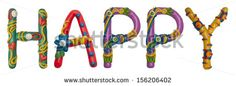 Colour plasticine letter isolated on a white background - happy