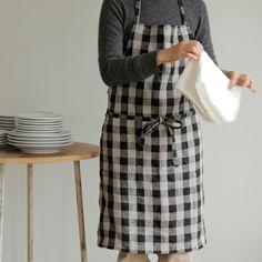 shop fog linen — Daily Apron: Black Natural Check