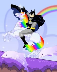 Batman riding a Unicorn in a purple ocean with dolphins! Need I say more!