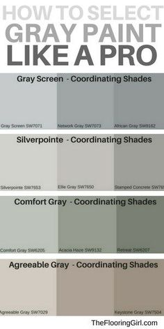 are the most popular shades of gray paint? How to select the best shade of gray paint and a matching accent wall. Most popular gray paints.How to select the best shade of gray paint and a matching accent wall. Most popular gray paints. Paint Colors For Living Room, Paint Colors For Home, Paint Colours, Bedroom Colors, Best Paint For Walls, Concrete Paint Colors, Gray Living Room Walls, Lowes Paint Colors, Popular Paint Colors