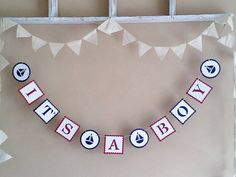 It's a Boy - Gender Announcement - Photo Prop - Baby Shower - Banner Navy Blue Red and White Baby by milkdustcreations, $14.95