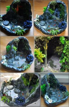 One of two much larger grottos I've made from clay and Solid Water. With stepping stones and waterfall. OOAK (one of a kind). 5 and a half inches wide (at its largest part), 7 inches long, and 4 in...