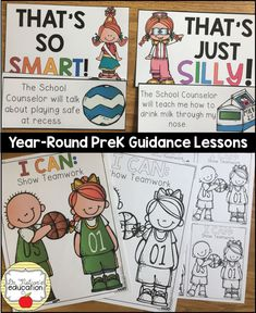 PreK / Primary Guidance Lessons for the whole year! Bullying Prevention, Guidance Lessons, Beginning Of School, School Counselor, Social Skills, Early Childhood, Counseling, Kindergarten, Preschool