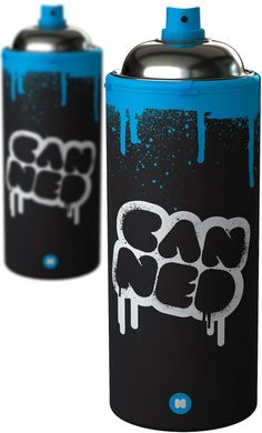 Canned. Insulated travel mug that looked like an aerosol can