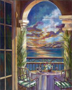 Interlude at Sunset by Ginger Cook -  Mediterranean Seascape Ceramic Tile Mural GCS009 #store.artworkontile.com