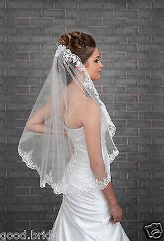Velo de novia blanco/marfil una capa Borde de Apliques de Encaje Traje velos con Peine + +