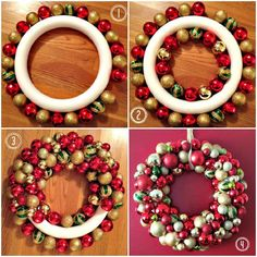 Have you see those ornament wreaths around town too? It's so easy to make your own to match your decor.