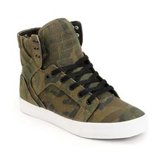 Elevate your skate game by snagging the Supra Skytop green camo canvas skate shoe. These Zumiez Exclusive camo Supra Skytop shoes feature an all over camo print canvas upper, high memory polyurethane insole for comfort and padding from big drops, elastic tongue straps and padded ankle support for protection and a white vulcanized sole for incredible board feel. A heel loop tab allow the Supra Skytop to be pulled on easily and six reinforced metal lace eyelets at the top padded collar keep…