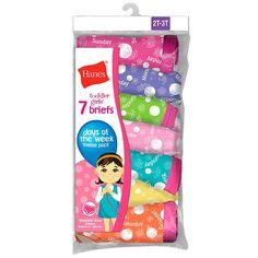 Hanes Tagless® Toddler Girls Days of the Week Pre-Shrunk Cotton Briefs 7-Pack