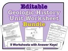 ***********************HUGE SAVINGS!**************************This *EDITABLE* worksheet bundle has 9 worksheets for the Geologic History Unit of the Earth Science Regents curriculum. Many questions include diagrams, graphs, and charts for students to analyze.