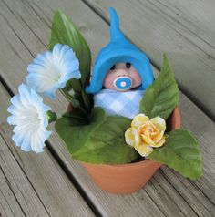 Clay BABY in Flower Pot  Hand Sculpted Baby  by joycesclay on Etsy