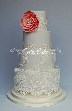 Dusty Blue Lace Wedding Cake | Flickr - Photo Sharing! Dusty blue cake finished with brush embroidery piped lace and edible cake lace. Squires Kitchen Exhibition 2014 www.jellycake.co.uk