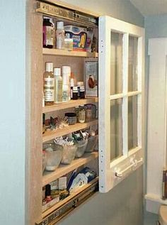 Refurbished window into a medicine cabinet