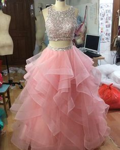 two piece prom dresses organza ruffles beaded top with keyhole back – slayingd. two piece prom dresses organza ruffles beaded top with keyhole back – slayingdress - ❤️ videos of fancy gowns - Blush Pink Prom Dresses, Pink Party Dresses, Cute Prom Dresses, Quince Dresses, Sweet 16 Dresses, Pretty Dresses, Homecoming Dresses, Beautiful Dresses, Dresses Dresses