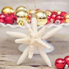 Easy DIY Coastal Christmas Ornament with Starfish and rope
