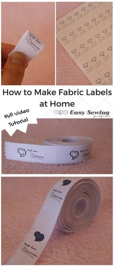 Here is a step by step video tutorial for how to make fabric labels at home, by Domenica Tootell at Easy Sewing For Beginners. Domenica also includes a step by step photo tutorial along with a downloa Sewing Hacks, Sewing Tutorials, Sewing Crafts, Sewing Tips, Sewing Ideas, Sewing Basics, Dress Tutorials, Quilt Labels, Fabric Labels