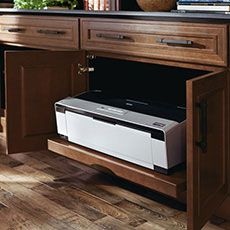 Store your printers, and other devices in your cabinets. Hide the cords too! Storage Cabinets – Kitchen Cabinetry Ideas – MasterBrand