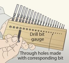 Drill Bits Storage and Organization. Drill Bit Gauge and holes to show which goes with which size bit. Never miss a bit with holder-and-gauge combo. (I'm kind of embarrassed to have never thought of this. Workshop Storage, Workshop Organization, Garage Organization, Tool Storage, Lumber Storage, Storage Design, Garage Storage, Woodworking Jigs, Woodworking Projects