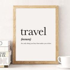 Travel Definition, Definition Print, Travel Print, Word Poster, Travel Quote…