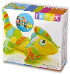 Large Inflatable Swimming Poll Smiling Gecko Ride-On Beach Water Kids Play Child