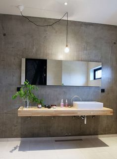 Concrete fixtures are very popular in modern interior design because they define this style so well. These days concrete as a material is very popular and modern. Concrete bathroom designs are very… House Design, Shower Panels, Small Bathroom, Industrial Bathroom Decor, Bathrooms Remodel, Laundry In Bathroom, Concrete Bathroom Design, Home, Bathroom Design