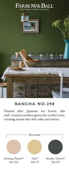 This mid-century modern green is a darker version of the much loved archive colour, Olive. Perfect for those who want to embrace stronger colour in the home, its sober tone creates rooms that feel calm and serene. Green Paint Colors, Kitchen Paint Colors, Room Colors, Wall Colors, Colours, Farrow And Ball Living Room, Living Room Green, Green Rooms, Farrow Ball