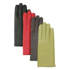 Buttery-soft lambskin leather gloves feature decorative stitching along the side seams.