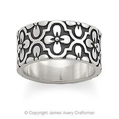 """Valencia Band    The Valencia Band is 3/8"""" wide and available in sizes 4 to 10.    Engraving available on this item - Click for details     R-1615     sterling silver - $79.00"""