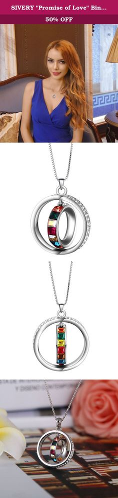 """SIVERY """"Promise of Love"""" Binity Ring Pendant Necklace Fashion Jewelry, Made with Swarovski Crystals. Meterial: Colorful Crystals from Swarovski + Clear White Cubic Zirconia + High Quality Alloy. Sivery Ring Pendant Necklace with Swarovski Elements Crystal, the best gifts on Mother's DAY, Valentine's Day, Christmas, Anniversary, Birthday. Attention Away from chemicals Not wearing it while bathing No collision or Bruising Avoid sweat Scrub it with soft cloth(you can find one in the gift…"""
