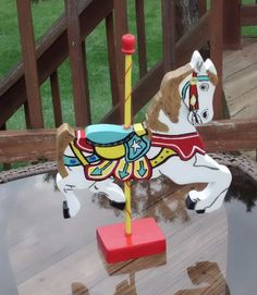 Wood Carousel Horse Custom Colors, You Choose, 12 inches. $45.00, via Etsy.