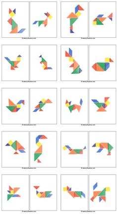 Not Pattern Blocks – but Tangram Preprints! Math Games, Toddler Activities, Learning Activities, Kids Learning, Visual Perceptual Activities, Kindergarten Math, Teaching Math, Preschool Activities, Tangram Puzzles