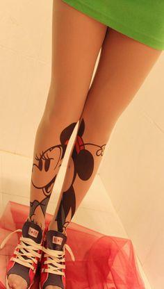 NEW Woman Minnie Mouse Fashion Tattoo Sheer Pantyhose Tights Leggings Stocking | eBay