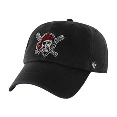 8ce7816a4e3 Pittsburgh Pirates - Logo Clean Up Black Adjustable Baseball Cap