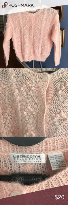 """Sweet pink cardigan """"Liz Claiborne"""" sweater Knitted by hand """"Liz Claiborne"""" sweater. Light pink. Size Medium. 57% mohair/43% nylon dry clean only. Has 6 buttons. Liz Claiborne Sweaters Cardigans"""