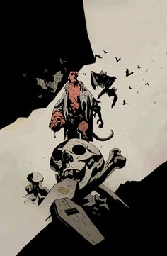 Hellboy (Art by Mike Mignola) Best Comic Books, Comic Books Art, Comic Book Artists, Comic Artist, Hellboy Tattoo, Batman Tattoo, Comic Character, Character Design, Mike Mignola Art