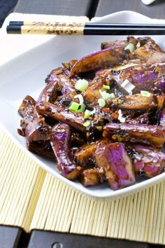 """Szechuan eggplants is a great chinese dish, slightly spicy Sichuanese flavoured recipe. The long asian eggplants have a firmer texture and bolder flavour in comparison with the western world """"… Szechuan Eggplant Recipe, Chinese Eggplant Recipes, Eggplant Dishes, Chinese Recipes, Chinese Cooking Wine, Asian Cooking, Chinese Food, Side Dishes For Bbq, Chinese Cuisine"""