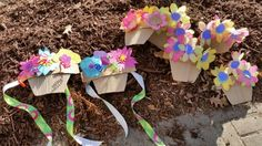 Quick may baskets paper, cupcake pipe cleaners ribbon cardboard