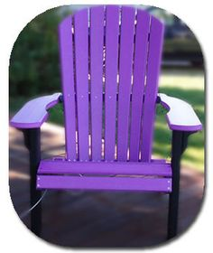 Add a purple chair to your WOLF deck--a great way to brighten up gray winter… Purple Home, Lawn Chairs, Garden Chairs, Lawn Furniture, Purple Furniture, Painted Furniture, Outdoor Furniture, All Things Purple, Purple Stuff