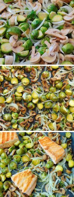 Salmón con coles de bruselas y champiñones | Receta fácil de pescado al horno con verduras