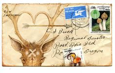 Beautiful woodland mail art with deer, mushrooms, and arrows.
