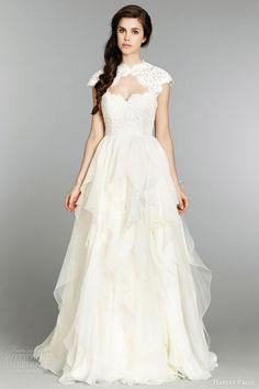 hayley paige fall 2013 wedding dress strapless sweetheart lace silk georgette flounced chapel 6353 lace cap sleeve bolero
