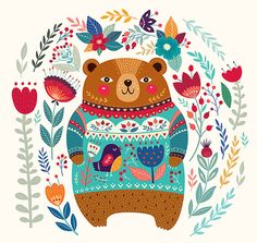 Cute Bear in a beautiful sweater and floral by MoleskoStudio