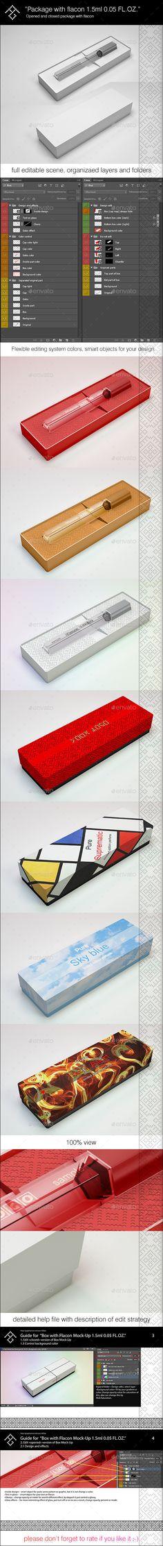 Box with Flacon Mock-Up 1.5ml 0.05 FL.OZ. #design Download: http://graphicriver.net/item/box-with-flacon-mockup-15ml-005-floz/11558408?ref=ksioks