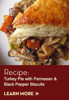 Turkey Pie with Parmesan & Black Pepper Biscuits. Cooking perfect turkey #seasonseatings #harristeeter