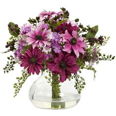 Add a touch of color to your home or office with this elegant faux daisy arrangement in a glass vase. The colorful blooms burst forth from slender stems and tender leaves.