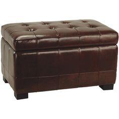 Waterville Leather Storage Ottoman
