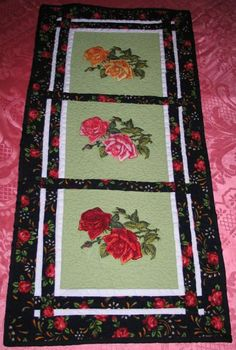 Advanced Embroidery Designs. Free Projects and Ideas. Quilted tablerunner with embroidery. Machine embroidery designs. Rose designs. Rose machine embroidery designs. Designs for home computerized embroidery machines.