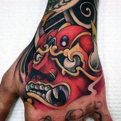 unique Tattoo Trends - 100 Hannya Mask Tattoo Designs For Men - Japanese Ink Ideas Japanese Mask Tattoo, Japanese Tattoos For Men, Traditional Japanese Tattoos, Japanese Tattoo Designs, Japanese Sleeve Tattoos, Samurai Maske Tattoo, Hannya Maske Tattoo, Hannya Tattoo, Oni Mask Tattoo