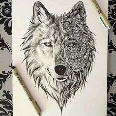 Love this design of a wolf, great leg piece
