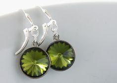 Swarovski Rivoli Earrings, Olivine Green Crystals, Rhodium Plated, Sterling Earrings Leverbacks